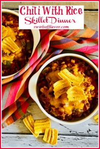 overhead photo of a bowl of chili with cheese and text overlay