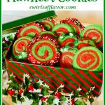 red and green spiral cookies in cookie tin with text overlay