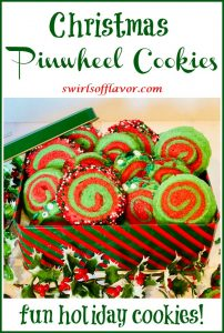 holiday spiral cookies with text overlay