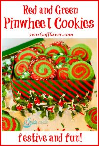 red and green pinwheels cookies in cookie tin with text overlay