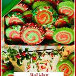 red and green cookies in cookie tin with text overlay