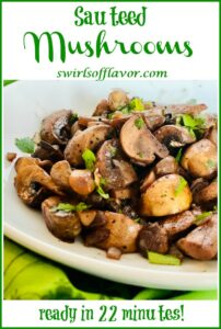 mushrooms and onions in white bowl with text overlay