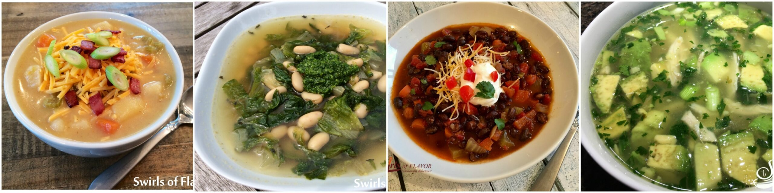 Left to Right: Potato Soup; Escarole and White Bean Soup; Southwest Black Bean Soup; Avocado Lime Chicken Soup