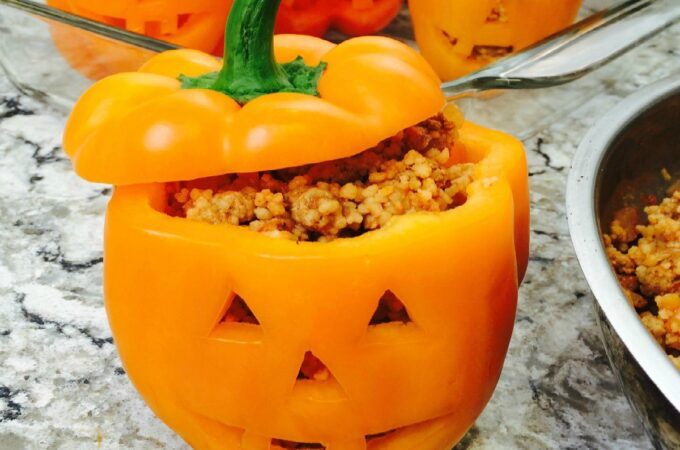 quinoa stuffed pepper with Jack O Lantern cut out