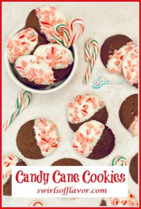 white chocolate with crushed candy canes on chocolate cookies with text overlay