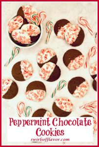 lots of candy cane chocolate cookies with white chocolate and text overlay