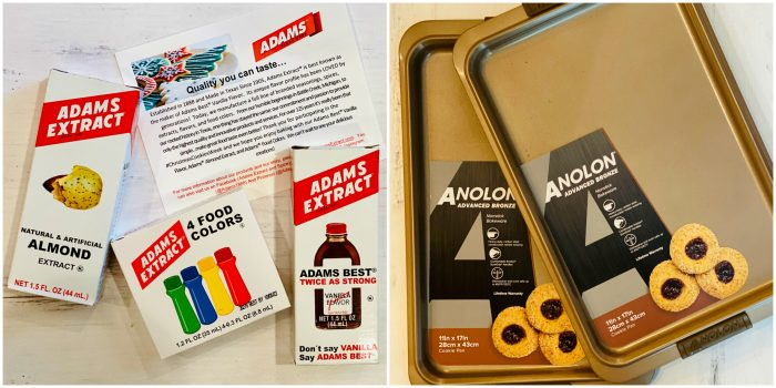 Adams extracts and Analon baking pans