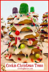 cookies stacked up to look like a Christmas tree with icing and sprinkles and text overlay