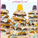 stacked cookie Christmas trees with text overlay
