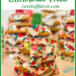 a Christmas tree cookie made with stacked sugar cookies and text overlay