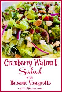 cranberry salad with goat cheese and text overlay