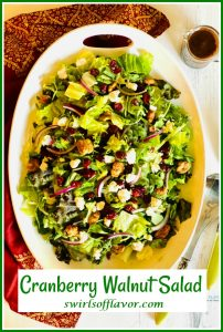 overhad of holiday salad with cranberries and text overlay