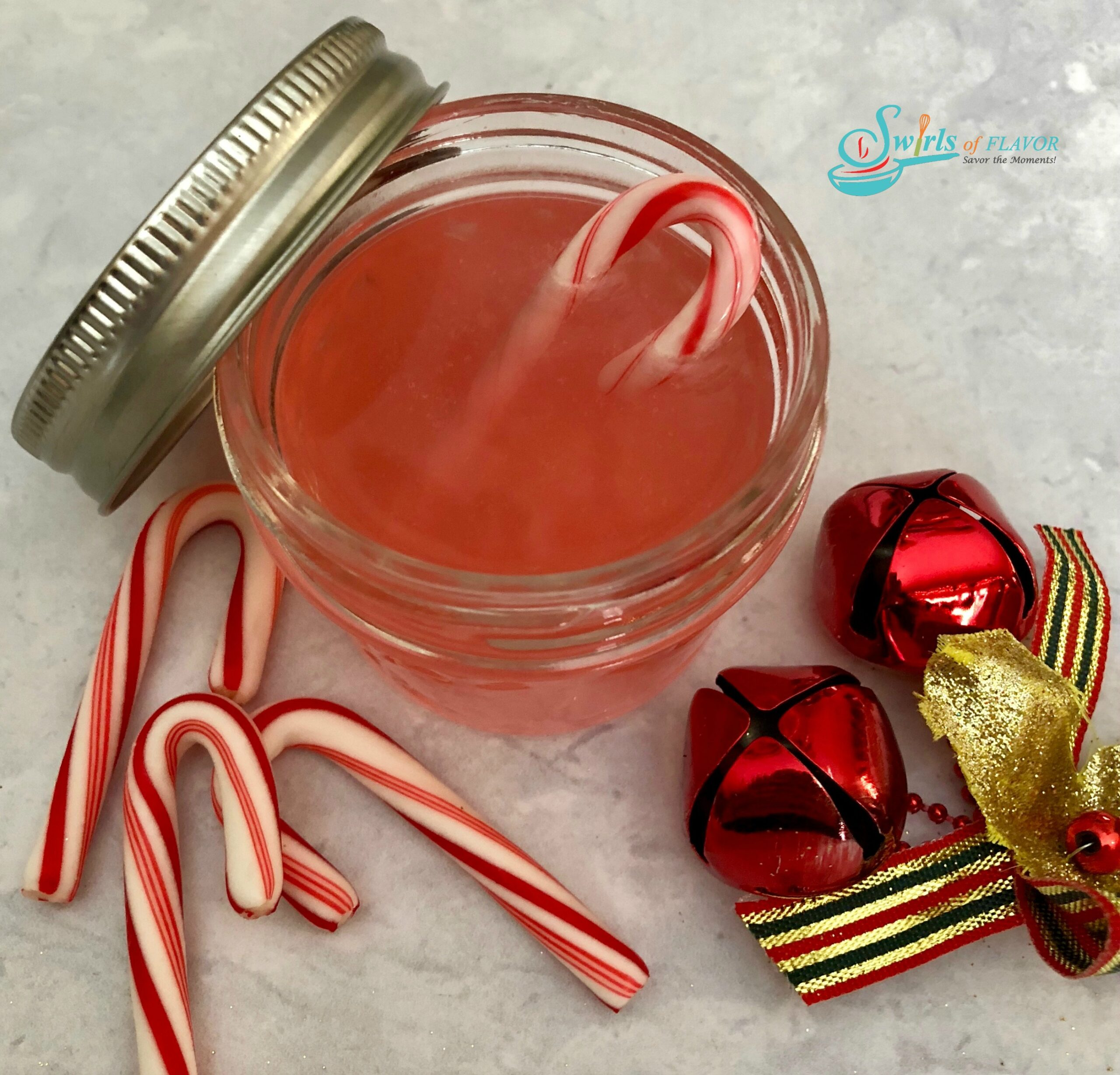 candy cane vodka with Christmas ornament