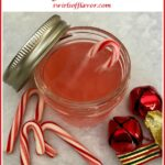 homemade peppermint vodka in mason jar with text overlay