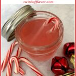 candy canes and peppermint vodka with text overlay