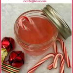 two ingredient peppermint vodka in mason jar with text overlay