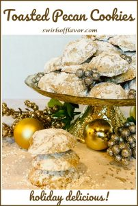 pecan cookies with confectioners' sugar, holiday ornaments and text overlay
