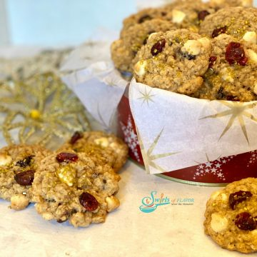 oatmeal cookies with tin of cookies and glitter snowflake