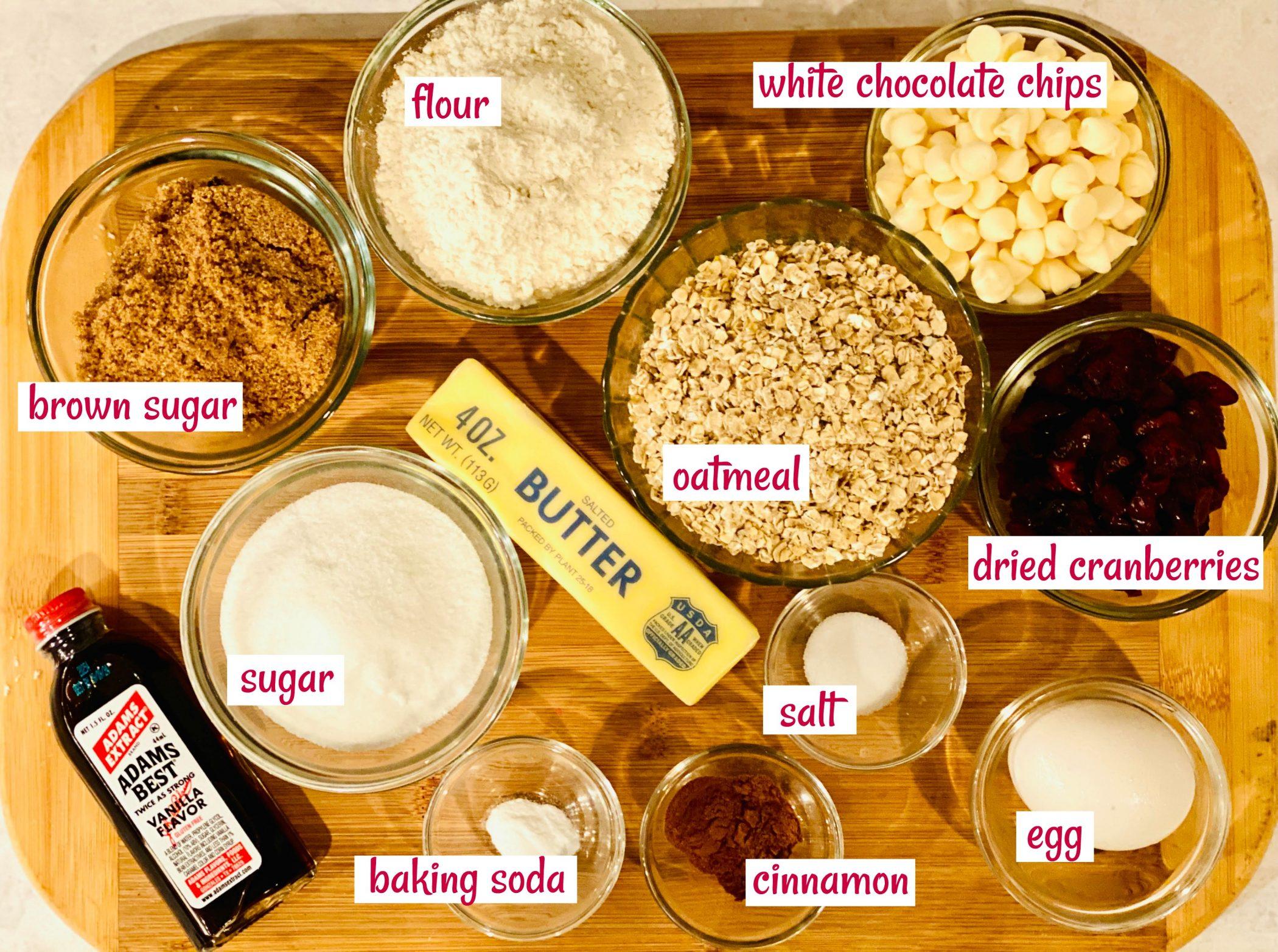ingredients to make oatmeal cookies