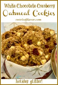 white chocolate oatmeal cookies in cookie tin with text overlay