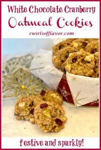 three oatmeal cookies with cookie tin and text overlay