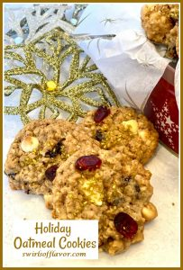cranberry oatmeal cookies with gold sugar and text overlay