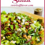balsamic salad with cranberries and text overlay