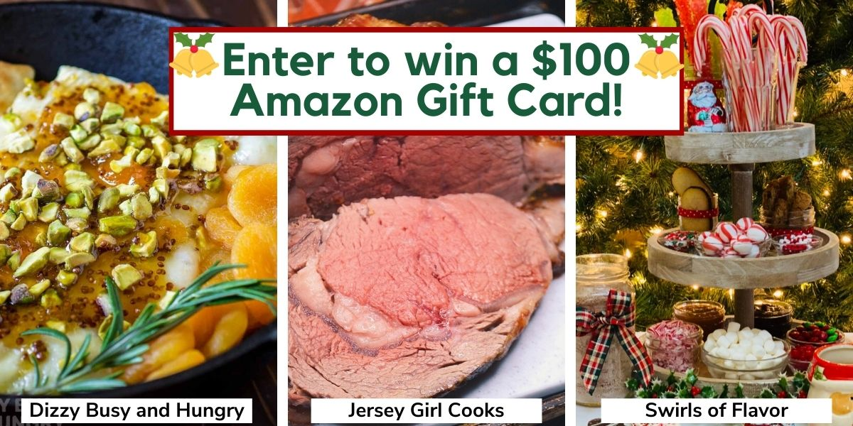 Baked Brie, Grilled Rib roast and Hot Cocoa Bar with enter to win a $100 Amazon gift card text