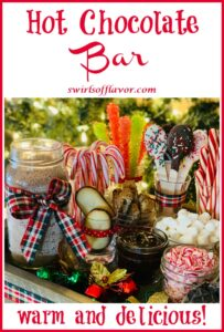 ingredients for hot cocoa bar with text overlay