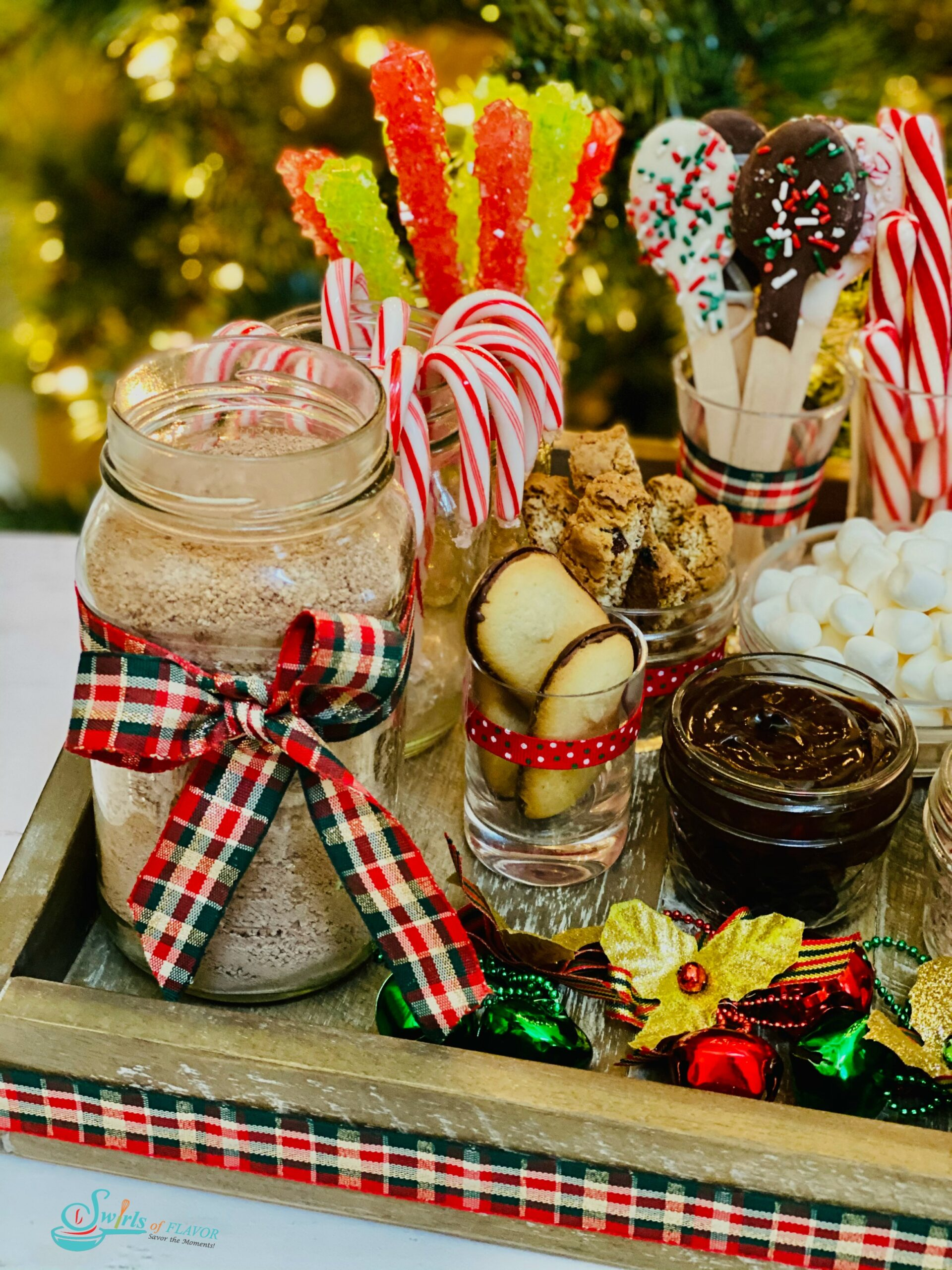 hot cocoa in jar with stir-ins and toppings