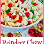 holiday snack mix with red and green candy and text overlay