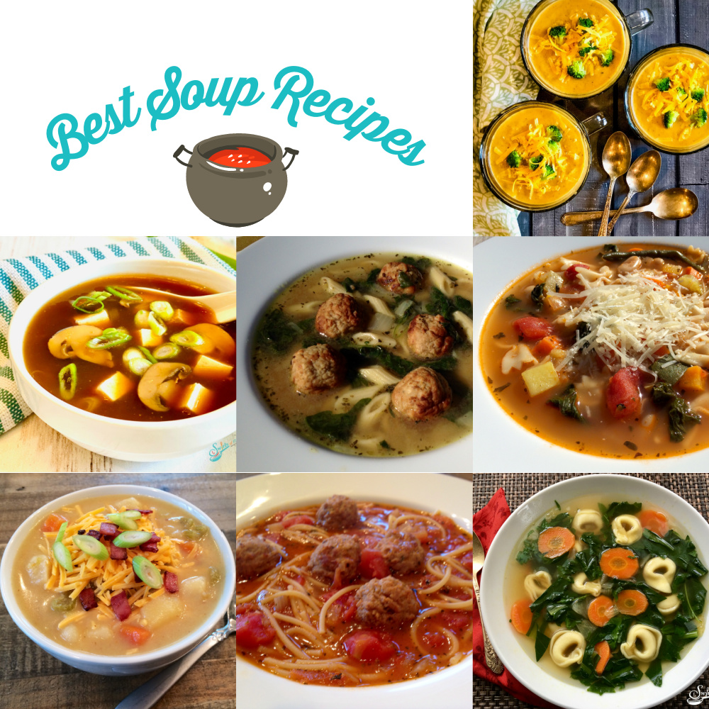 collage of seven best soup recipes with text overlay