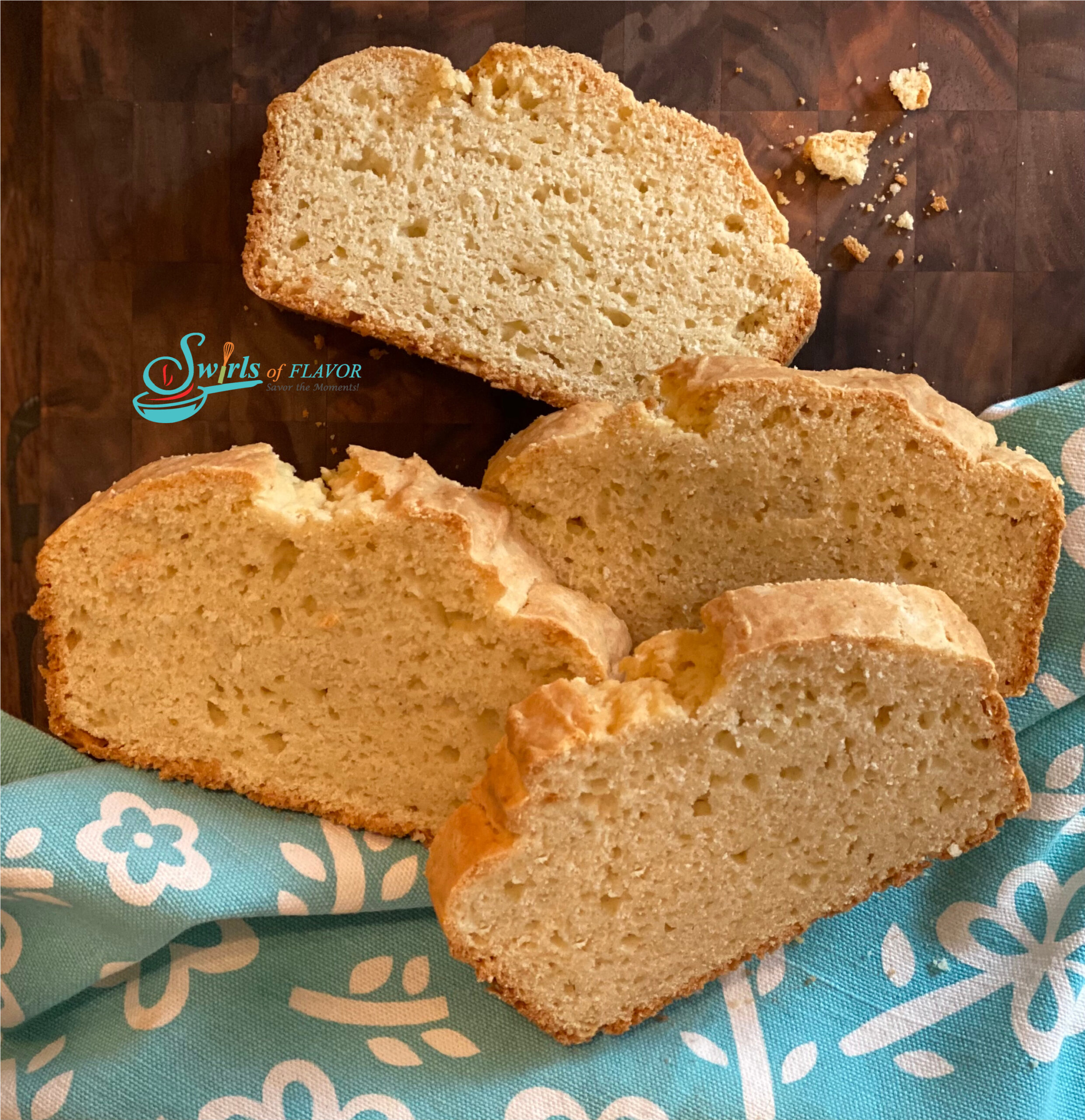 slices of homemade bread with blue napkin