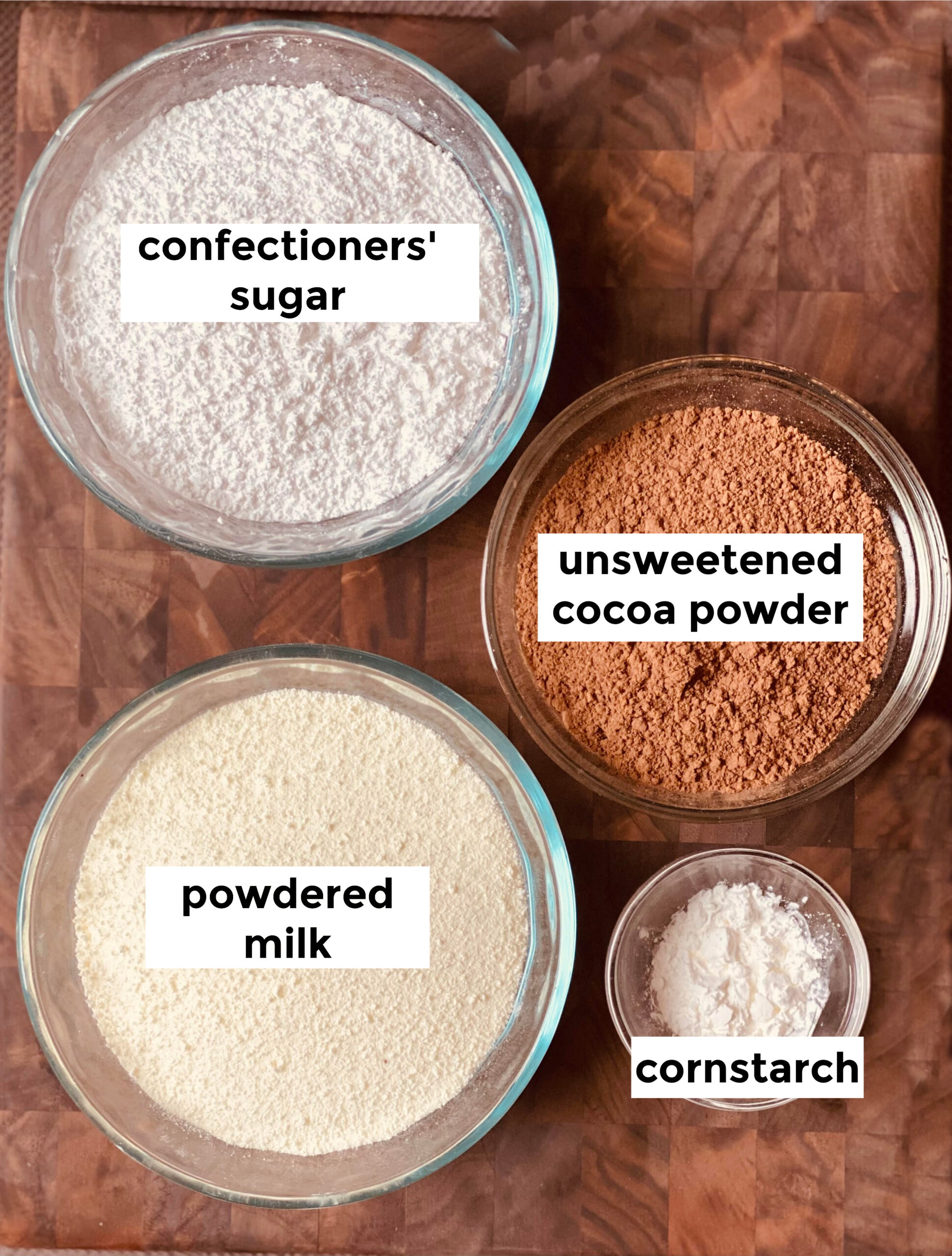 ingredients to make hot chocolate mix