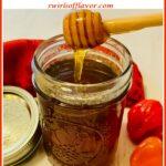 hot honey in mason jar with text overlay