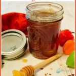 sweet and hot honey in mason jar with text overlay