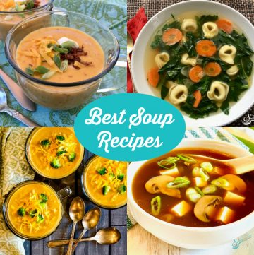 collage of four homemade best soup recipes