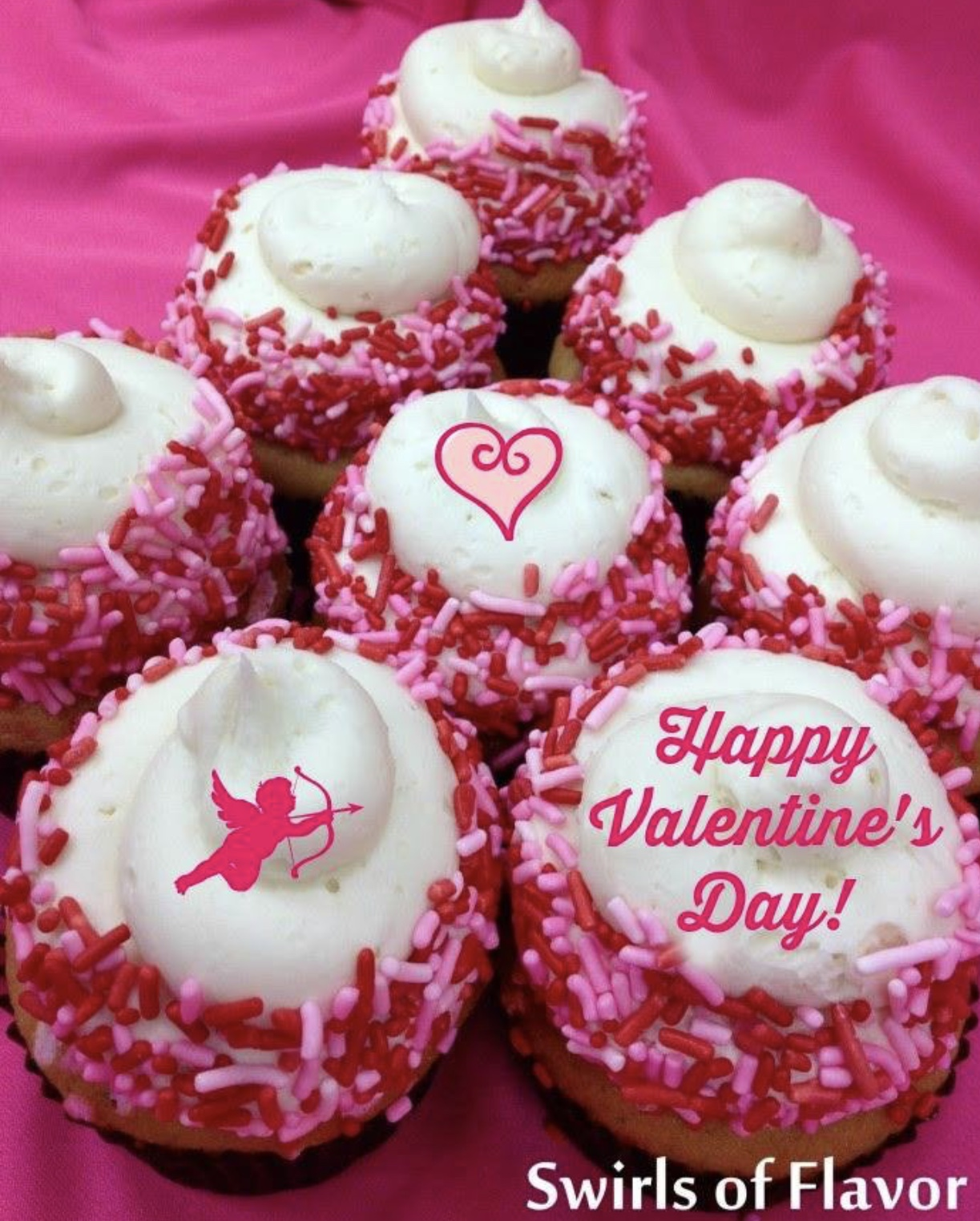Happy Valentine's Day cupcakes with pink sprinkles