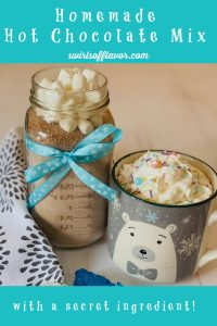 jar of hot chocolate mix with mug and whipped cream and text overlay