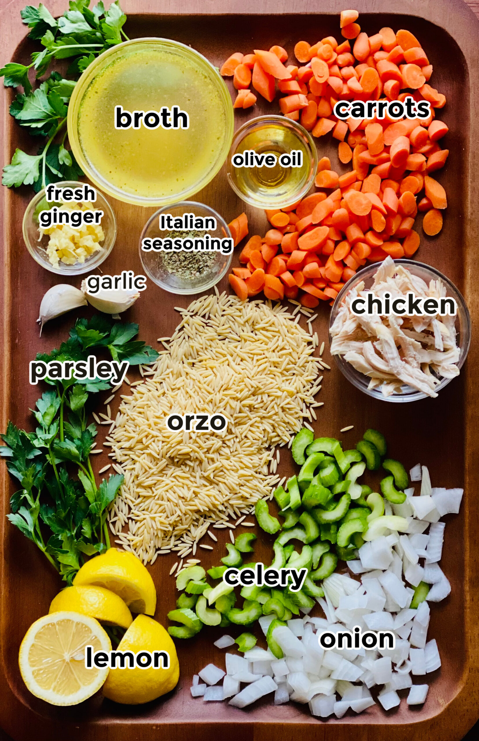 ingredients to make chicken orzo soup