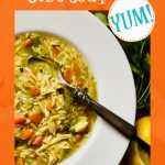 overhead photo of half bowl of chicken orzo soup with text overlay