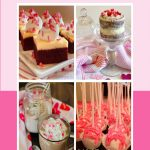 valentine's day desserts collage and text overlay