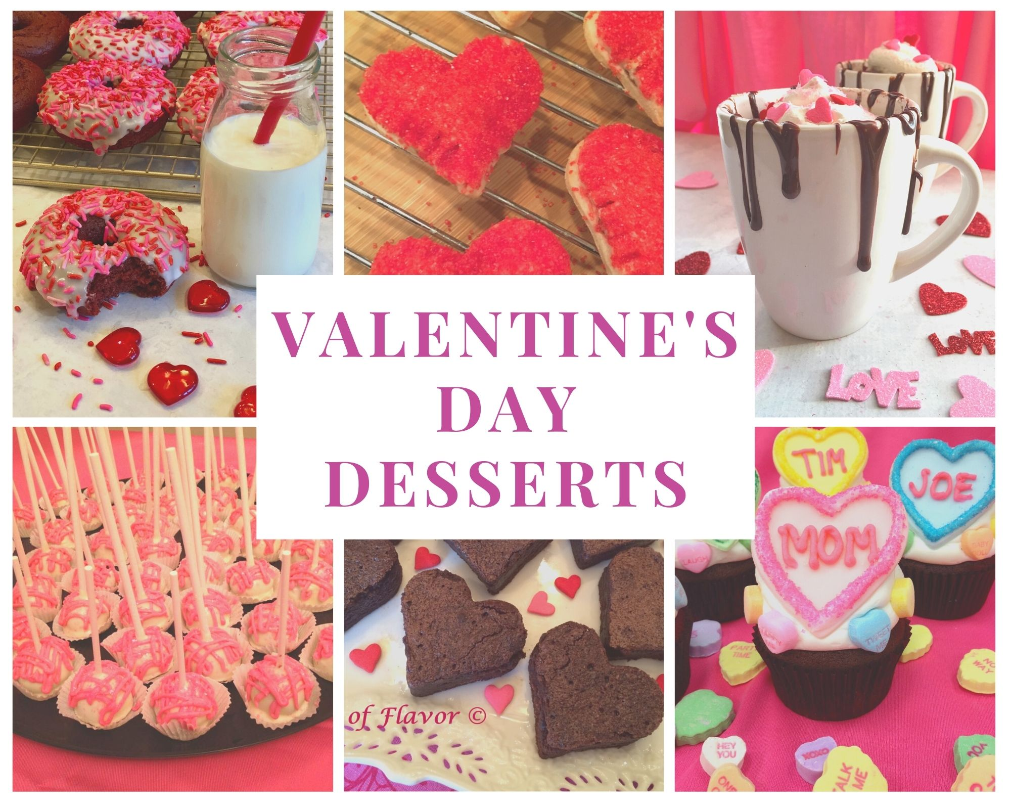 Valentine's Day desserts collage with text overlay
