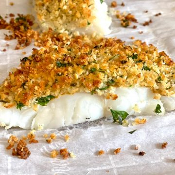 baked cod with panko on parchment