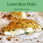 single serving of cod with panko topping and text overlay