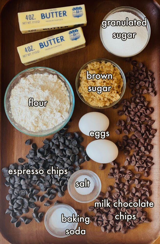 The ingredients needed to make brown butter chocolate chip cookies
