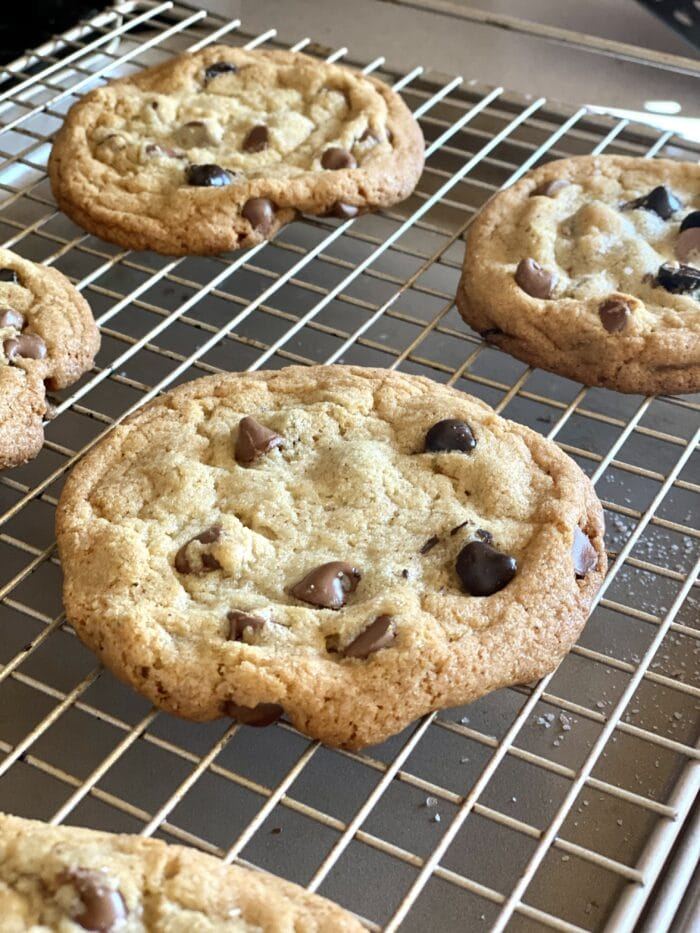 Brown Butter Chocolate Chip cookies on wire rack