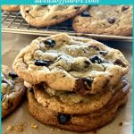stack of brown butter cookies with chocolate chips and text overlay