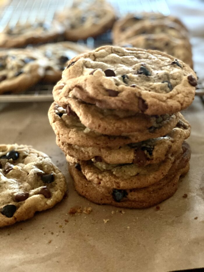 Stack of chocolata chip cookies with brown butter