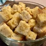 clear glass bowl full of homemade croutons recipe